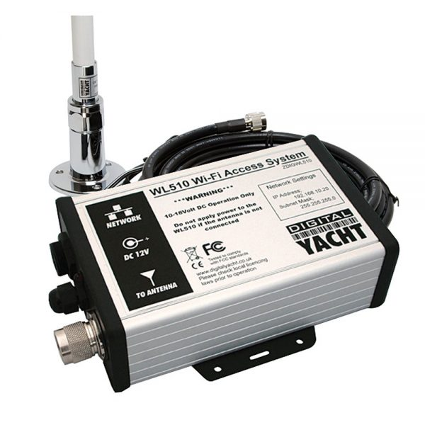 The WL510 is a hi power marine Wifi booster with ranges of 4-6NM