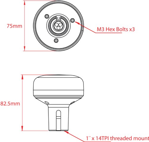 Dimensions of the GPS160 antenna