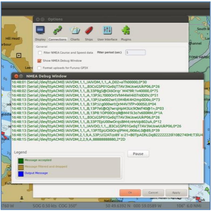 show debug nmea in opencpn